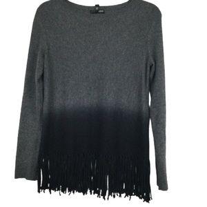 Aqua Cashmere Fringe Trim Sweater in Grey/Black